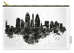 Carry-all Pouch featuring the mixed media Cincinnati Skyline Black And White by Marian Voicu