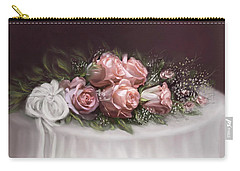 Carry-all Pouch featuring the painting Spray Of  Roses by Bonnie Willis