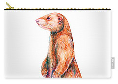 Carry-all Pouch featuring the painting Cinnamon Ferret by Zaira Dzhaubaeva
