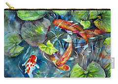 Carry-all Pouch featuring the painting Circle Of Koi by Mary McCullah