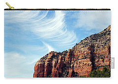 Carry-all Pouch featuring the photograph Cirrus Clouds Over The Mesa by Lynda Lehmann