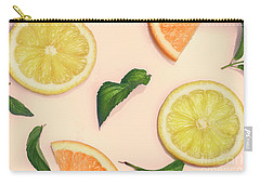 Citrus Pattern On Retro Pink Background Carry-all Pouch