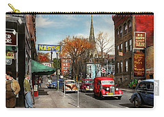 Carry-all Pouch featuring the photograph City - Amsterdam Ny - Downtown Amsterdam 1941 by Mike Savad