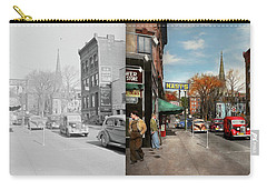 Carry-all Pouch featuring the photograph City - Amsterdam Ny - Downtown Amsterdam 1941- Side By Side by Mike Savad