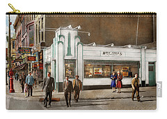 Carry-all Pouch featuring the photograph City - Amsterdam Ny - Hamburgers 5 Cents 1941 by Mike Savad