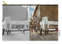 Carry-all Pouch featuring the photograph City - Amsterdam Ny - Hamburgers 5 Cents 1941- Side By Side by Mike Savad