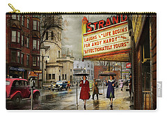 Carry-all Pouch featuring the photograph City - Amsterdam Ny - Life Begins 1941 by Mike Savad