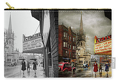 Carry-all Pouch featuring the photograph City - Amsterdam Ny - Life Begins 1941 - Side By Side by Mike Savad