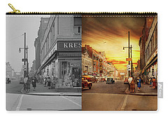 Carry-all Pouch featuring the photograph City - Amsterdam Ny - The Lost City 1941 - Side By Side by Mike Savad