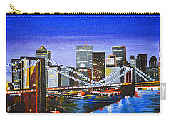 Carry-all Pouch featuring the painting City At Twilight by Donna Blossom