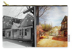 Carry-all Pouch featuring the photograph City - California - The Town Of Downieville 1933- Side By Side by Mike Savad