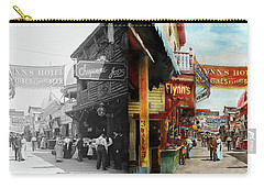 Carry-all Pouch featuring the photograph City - Coney Island Ny - Bowery Beer 1903 - Side By Side by Mike Savad