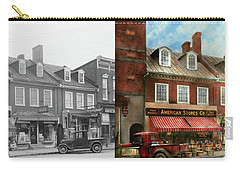 Carry-all Pouch featuring the photograph City - Easton Md - A Slice Of American Life 1936 - Side By Side by Mike Savad