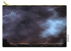 Carry-all Pouch featuring the photograph City Lights Night Strike by James BO Insogna