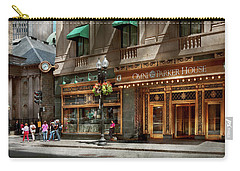 Carry-all Pouch featuring the photograph City - Ma Boston - Meet Me At The Omni Parker Clock by Mike Savad