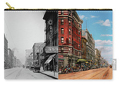 Carry-all Pouch featuring the photograph City - Memphis Tn - Main Street Mall 1909 - Side By Side by Mike Savad