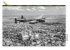 Carry-all Pouch featuring the photograph City Of Lincoln Vn-t Over The City Of Lincoln Bw Version by Gary Eason