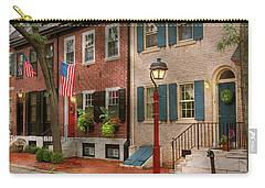 Carry-all Pouch featuring the photograph City - Pa Philadelphia - American Townhouse by Mike Savad