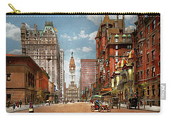 Carry-all Pouch featuring the photograph City - Pa Philadelphia - Broad Street 1905 by Mike Savad