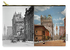 Carry-all Pouch featuring the photograph City - Pa Philadelphia - Broad Street 1905 - Side By Side by Mike Savad