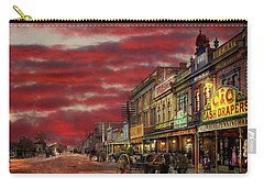 Carry-all Pouch featuring the photograph City - Palmerston North Nz - The Shopping District 1908 by Mike Savad