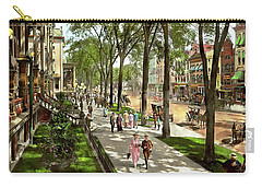 Carry-all Pouch featuring the photograph City - Saratoga Ny -  I Would Love To Be On Broadway 1915 by Mike Savad