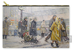 Carry-all Pouch featuring the painting City Snow Ride by Donna Tucker