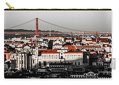 Lisbon In Black, White And Red Carry-all Pouch