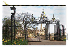 Carry-all Pouch featuring the photograph Clare College Gate Cambridge by Gill Billington