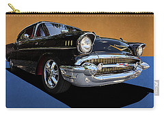 Classic Black Chevy Bel Air With Gold Trim Carry-all Pouch