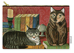 Carry-all Pouch featuring the painting Classic Literary Cats by Carrie Hawks