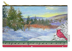 Classic Winterscape With Cardinal And Reindeer Carry-all Pouch