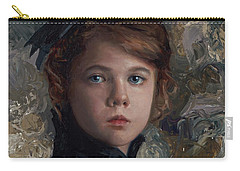 Carry-all Pouch featuring the painting Classical Portrait Of Young Girl In Victorian Dress by Karen Whitworth