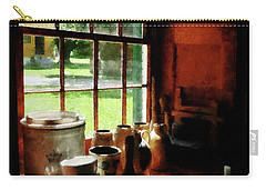 Clay Jars On Windowsill Carry-all Pouch by Susan Savad