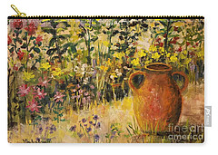 Clay Pot In The Garden Carry-all Pouch by Lou Ann Bagnall