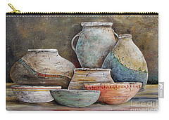 Carry-all Pouch featuring the painting Clay Pottery Still Lifes-a by Jean Plout
