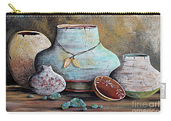 Carry-all Pouch featuring the painting Clay Pottery Still Lifes-b by Jean Plout