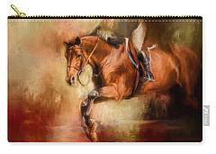Clearing The Jump Equestrian Art Carry-all Pouch by Jai Johnson