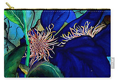Clematis Regal In Purple And Blue Sold Carry-all Pouch by Lil Taylor