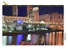 Carry-all Pouch featuring the photograph Cleveland And Tug Boats by Frozen in Time Fine Art Photography