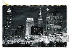 Cleveland Iconic Night Lights Carry-all Pouch by Frozen in Time Fine Art Photography