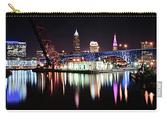 Carry-all Pouch featuring the photograph Cleveland Ohio Lights Up With Color by Frozen in Time Fine Art Photography