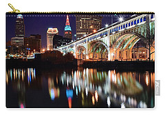 Cleveland Ohio Skyline Carry-all Pouch by Frozen in Time Fine Art Photography