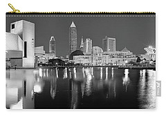 Cleveland Skyline At Dusk Black And White Carry-all Pouch