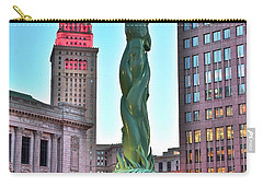 Carry-all Pouch featuring the photograph Cleveland Statue Sunset by Frozen in Time Fine Art Photography