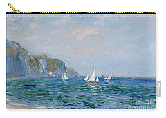 Cliffs And Sailboats At Pourville  Carry-all Pouch by Claude Monet