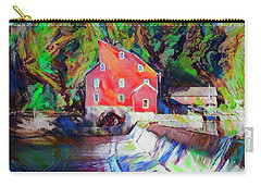 Clinton New Jersey -the Red Mill  On The Raritan River  Watercol Carry-all Pouch by Bill Cannon