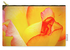 Close Up Of Yellow And Pink Rose Carry-all Pouch by Teri Virbickis