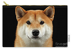 Close-up Portrait Of Head Shiba Inu Dog, Isolated Black Background Carry-all Pouch
