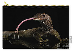 Close-up Varanus Rudicollis Isolated On Black Background Carry-all Pouch by Sergey Taran